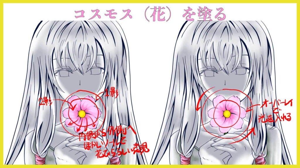 Procreate イラスト制作 コスモス 花の塗り方