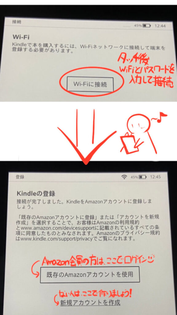 Kindle Paperwhiteセットアップ Wi-Fi接続 ログイン